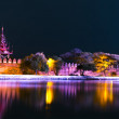 Bastion of Mandalay Palace at Night. — Stock Photo