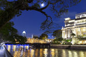 Singapore River and Fool Moon. — Stock Photo