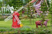 Red Sheeps and Mill. Pattaya Sheep Farm. — Stock Photo