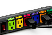Colorful power outlet — Stock Photo