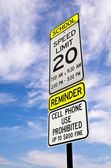 School zone reminder sign — Stock Photo