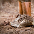 Stock Photo: Runner's muddy feet