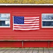 Stock Photo: Americflag hanging on wall