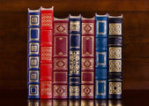 Row of vintage leather books — Stock Photo