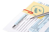 Tax return with due date reminder — Stock Photo