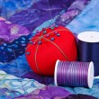 Foto Stock: Quilting thread and pincushion