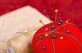 Closeup da almofada de alfinetes — Foto Stock