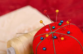 Closeup of pin cushion — Stok fotoğraf