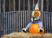 Scarecrow on a pumpkin and hay — Stockfoto