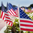 American flags on the street side — Stock Photo