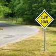 Stock Photo: Slow Down yellow traffic sign