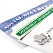 Stock Photo: Social security and permanent resident card