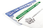 Social security and permanent resident card — Foto Stock