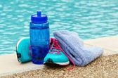 Concepto de ejercicio e hidratación — Foto de Stock