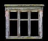 Staré rustikální dřevěné okenní rám — Stock fotografie