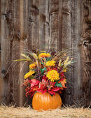 Pumpkin flower arrangement on hay — 图库照片
