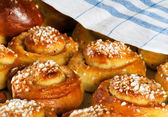 Freshly baked sweet buns or bread rolls — Stock Photo