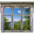 Scenic view seen through an old window frame — Stock Photo