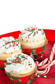 Holiday cupcakes with vanilla frosting — Stock Photo