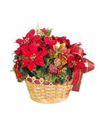 Holiday flower arrangement basket — Stock Photo