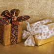 Stock Photo: Two festive gift wrapped presents