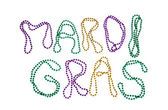 Colorful Mardi Gras beads text — Stock Photo