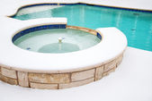 Outdoor hot tub or spa in the winter — Stock Photo
