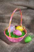 Colorful Easter egg basket — Foto de Stock