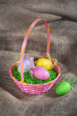 Colorful Easter egg basket — Zdjęcie stockowe