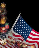 Festive fireworks and American flags — Stockfoto