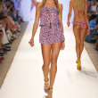MIAMI - JULY 20: Model walks runway at the Cia Maritima Collection for Spring Summer 2013 during Mercedes-Benz Swim Fashion Week on July 20, 2012 in Miami, FL - Stock Photo