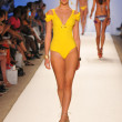 Model walking runway at the Aquarella Swim Collection for Spring Summer 2013 during Mercedes-Benz Swim Fashion Week on July 23, 2012 in Miami — Stock Photo