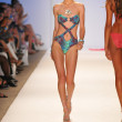 Model walking runway at the Aquarella Swim Collection for Spring Summer 2013 during Mercedes-Benz Swim Fashion Week on July 23, 2012 in Miami — Stock Photo #12437287