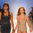 Designer Veronique de la Cruz and a model walk the runway at the Aquarella Swimwear show during Mercedes-Benz Fashion Week Swim 2013 at The Raleigh on July 23, 2012 in Miami, Florida. — Foto Stock