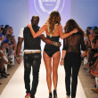 Stock Photo: MIAMI - JULY 23: Designers and Model walks runway at Cote Dor Swimwear Collection for Spring Summer 2013 during Mercedes-Benz Swim Fashion Week on July 23, 201