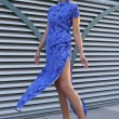 Stock Photo: Model wearing blue couture designer dress