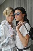 Portret van twee modellen dragen designer gowns couture — Stockfoto