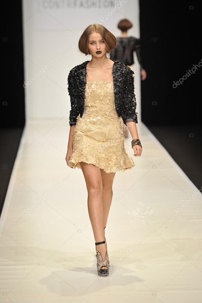 MOSCOW - MARCH 22: A Model walks runway at the CONTRFASHION for Fall Winter 2012 presentation during MBFW on March 22, 2012 in Moscow, Russia   Stock Photo #12541395