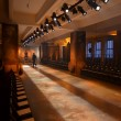 Stock Photo: Empty fashion show stage with runway, chairs and lights.