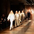 NEW YORK - FEBRUARY 11: Models walks runway finale for Sally La Pointe Fall Winter 2012 presentation in Center 548 during New York Fashion Week on February 11, 2012 - Stock Photo