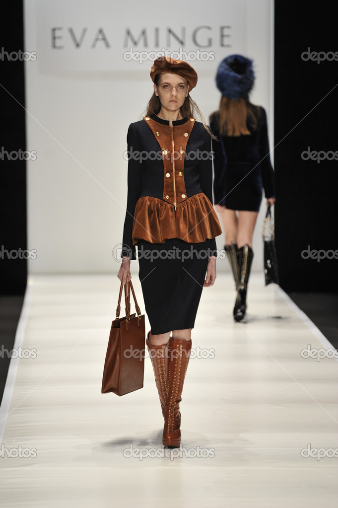 MOSCOW - MARCH 21: A Model walks runway at the Eva Minge for Fall Winter 2012 presentation during MBFW on March 21, 2012 in Moscow, Russia   Stock Photo #12552154
