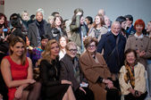 NEW YORK, NY - FEBRUARY 16: Front row guests at the Stephen Burrows fall 2012 fashion show during Mercedes-Benz Fashion Week at the Audi Forum on February 16, 2012 in NY — Stock Photo