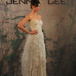 NEW YORK- OCTOBER 14: Models walks runway for Jenny Lee Bridal collection for Fall 2013 during NY Bridal Fashion Week on Octobber 14, 2012 in New York City, NY - Stock Photo