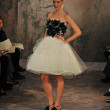 NEW YORK- OCTOBER 14: Models walks runway for Jenny Lee Bridal collection for Fall 2013 during NY Bridal Fashion Week on Octobber 14, 2012 in New York City, NY - Stok fotoğraf