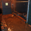 Flooded building entrance, caused by Hurricane Sandy - Stock Photo