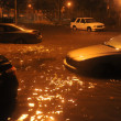 Stock Photo: Flooded cars, caused by Hurricane Sandy