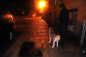 Unknown man with dog watching flooded street, caused by Hurricane Sandy — Stock Photo