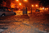 Flooded cars, caused by Hurricane Sandy — Stock Photo