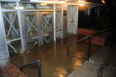 Flooded building entrance, caused by Hurricane Sandy — Stock Photo