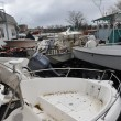 Boats smashed to the ground in the Sheapsheadbay neighborhood due to flooding from Hurricane Sandy - ストック写真